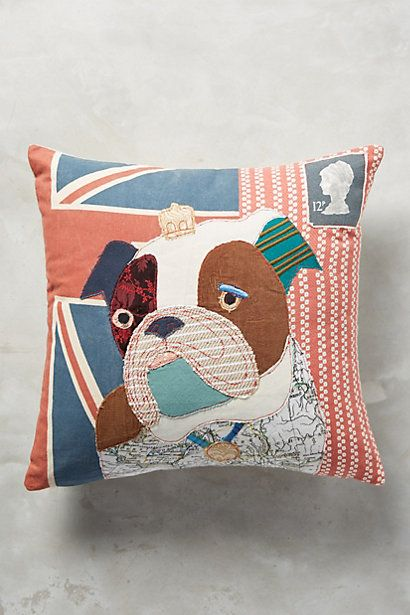 Patchwork Pup Pillow #anthropologie