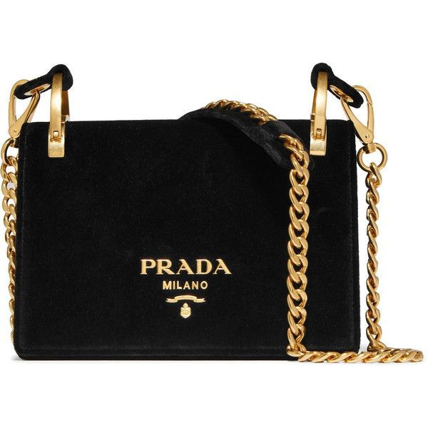 PradaPionnière Velvet Shoulder Bag ($1,850) ❤ liked on Polyvore featuring bags, handbags, shoulder bags, black, cross body cell phone purse, crossbody cell phone purse, chain shoulder bag, cell phone purse and cross-body handbag