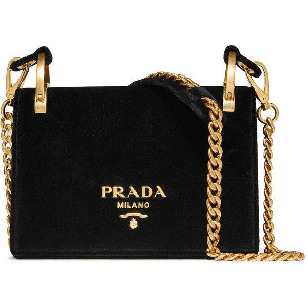 PradaPionnière Velvet Shoulder Bag (£1,440) ❤ liked on Polyvore featuring bags, handbags, shoulder bags, black, crossbody shoulder bag, prada purses, shoulder hand bags, cell phone crossbody and crossbody purses