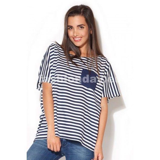 Moderné dámske tričko biele s modrými pásikmi - fashionday.eu
