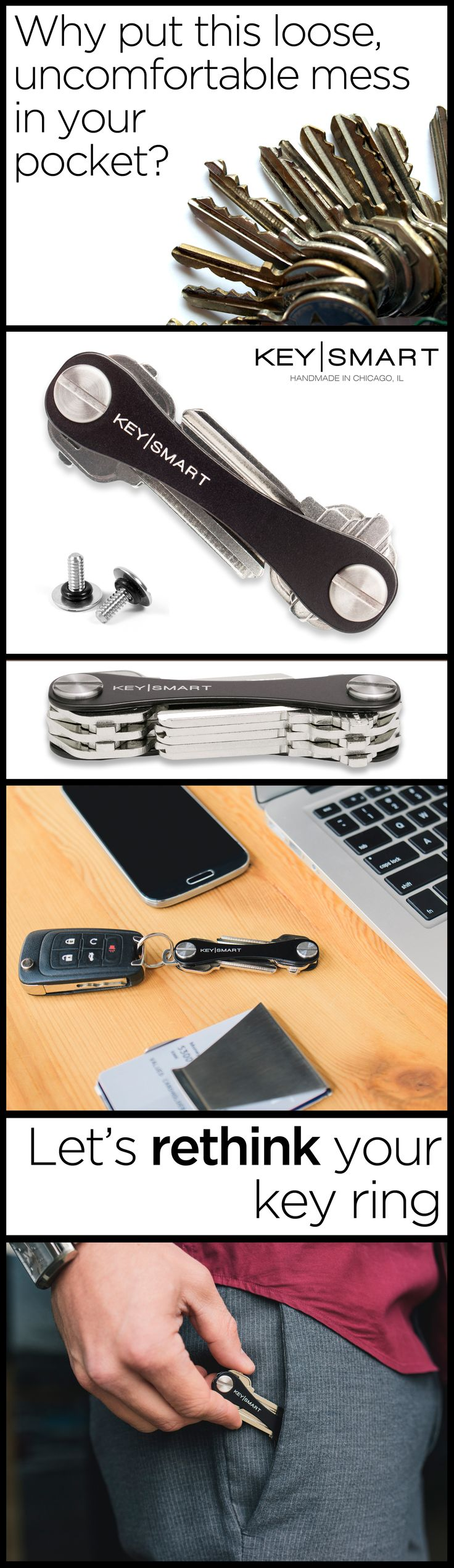The key ring really hasn't changed much over the years, which is strange considering how often we use them. The Key|Smart finally makes organizing your keys easy and functional. This key holder is designed like a pocket knife and keeps your keys neatly together rather than loose and dangling. It holds a USB drive, bottle opener, and other devices, effectively turning your keys into a useful multi-tool. Buy one today, use discount code HOLIDAY5 by January 1, 2016 for $5 off orders over $25.