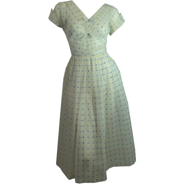 vintage HASHTAG Flocked Print Sheer 1950s Dress w/ Rhinestones and... ($185) ❤ liked on Polyvore featuring dresses, long slip, transparent dress, full skirt, vintage full skirt dress and vintage dresses