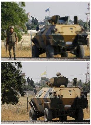 Combinación de fotografías que muestran una bandera del Estado Islámico el 15 de junio de 2015 (arriba) y la bandera de la Unidad de los Pueblos Kurdos (YPG) el 16 de junio de 2015 (abajo) en la ciudad siria de Tel Abyad vista desde la ciudad fronteriza turca de Akcakale.