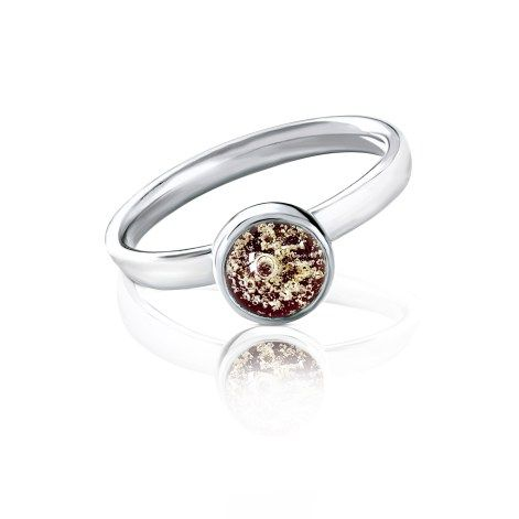 An elegant memorial glass ring specially designed to brilliantly encapsulate your loved one's ashes, and set in your choice of silver, 9ct. gold or white gold.