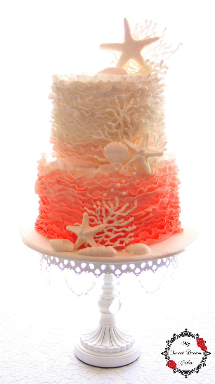 Beach themed wedding cake in ombre coral ruffles by My Sweet Dream Cakes