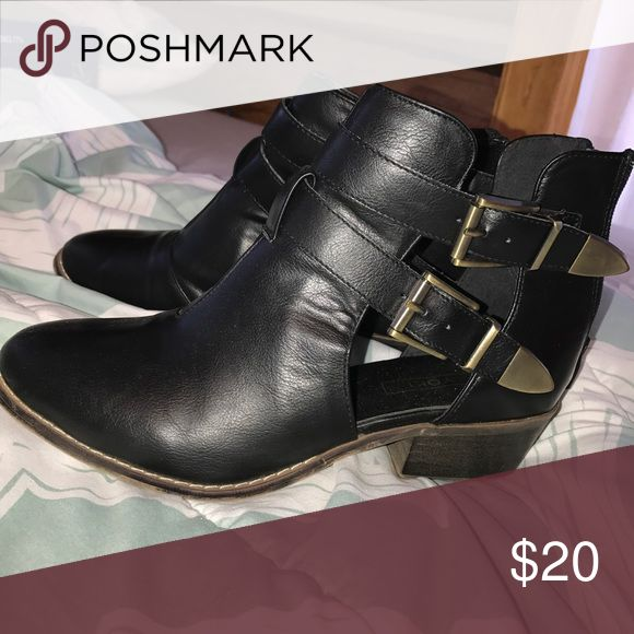 Booties Black booties with straps on side Tilly's Shoes Ankle Boots & Booties