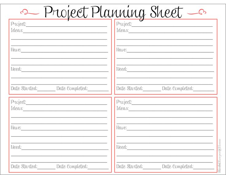 Blissful Keeper at Home: Free Project Planning Sheet