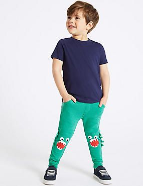 29c40094f75 Cotton Rich Knee Dinosaur Joggers (3 Months - 7 Years)