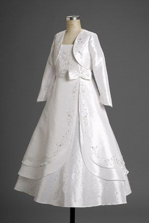 Gentle Long Sleves Square Satin Applique Tie Wasit With Bowknot Knee Length First Communion Gown
