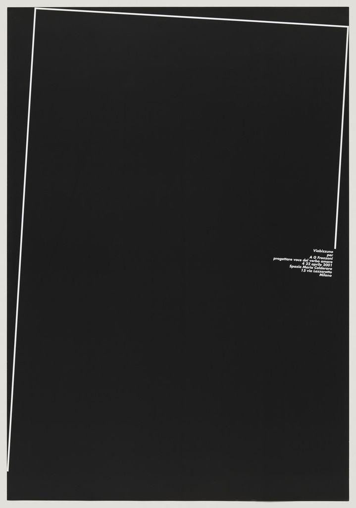 Mostra Personale: Progettare Voce del Verbo Amare (2001), A. G. Fronzoni