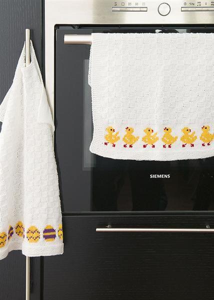Tema 27: Modell 10 Kjøkkenhåndkle m/ kyllinger eller egg ##strikk #interiør #påske