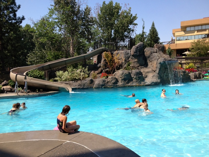 """Red Lion Hotel at the Park has an awesome """"lagoon"""" pool to swim in while staying at the hotel."""