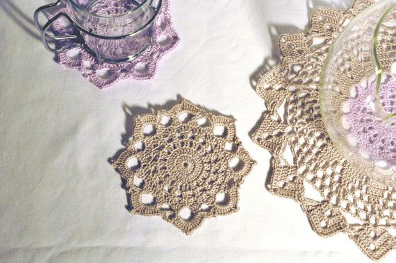 Crochet Coasters and Doily Teapot Stand  by manufattofattoamano, €13.50