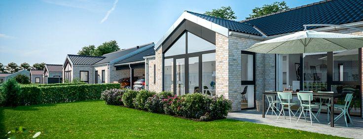 Fredensborg, Asminderødhave 1 plan - Lind og Risør. Nedrivningen af Asminderød Skole giver nu plads til et helt nyt attraktivt boligkvarter med både rækkehuse i 1 plan, rækkehuse i 2 fulde plan og villagrunde til opførelse af individuelle villaer.