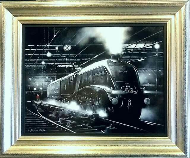 The Flying Scotsman by E Anthony Orme  , available as a print signed by the artist from our gallery at 284 Stand Lane , Radcliffe , Manchester , M26 1JE tel: 0161 7669991 #art #gallery and #picture #framing in #Manchester #train #locomotive #legend