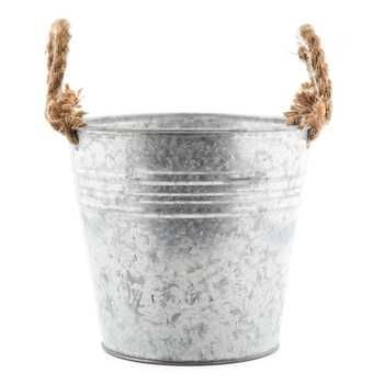 Tin Bucket with Rope Handles -- If distressed with gold, it might work