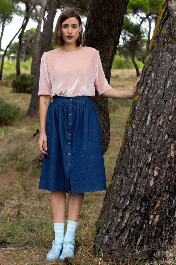 Winter Sale Jean skirt women skirt midi skirt skirt by JojoBlanc