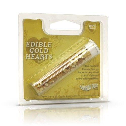 RD Edible Hearts Gold - Eetbare glitter - Glans & glitter - Decoratie - producten | Deleukstetaartenshop.nl