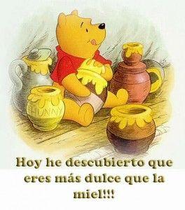 Imagen de oso pooh con frase que es tan dulce como la miel