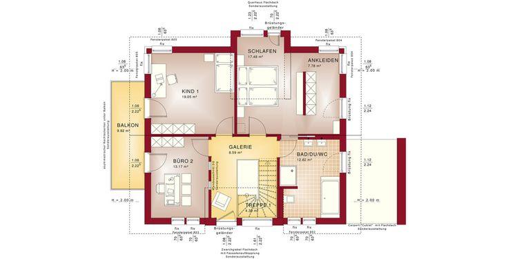 Grundriss Einfamilienhaus mit Satteldach - Haus Concept-M 167 Bien Zenker - Obergeschoss mit offener Treppe Galerie Balkon - HausbauDirekt.de