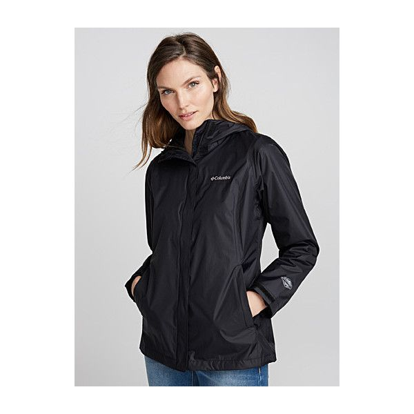 Columbia Arcadia packable rain jacket ($79) ❤ liked on Polyvore featuring outerwear, jackets, waterproof jacket, flap pocket jacket, pocket jacket, rain jacket and columbia