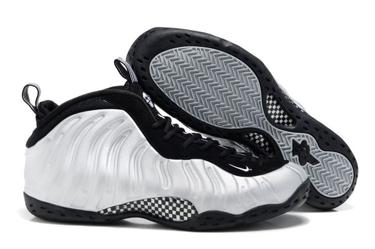 Metallic Silver and Black Men Foamposites One Basketball Shoes - Big Size  70771