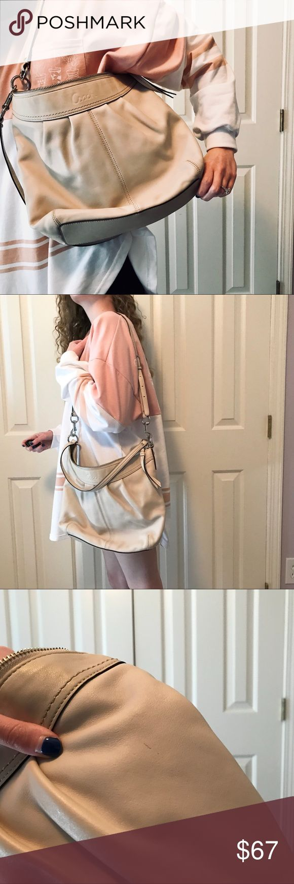 Beige Coach Shoulder Bag Beige color coach purse with shoulder strap and adjustable Crossbody strap. Hobo style that holds everything! Three pockets inside. Outside has a few small imperfections. Great condition and the perfect neutral bag for any outfit and any occasion! Coach Bags Shoulder Bags