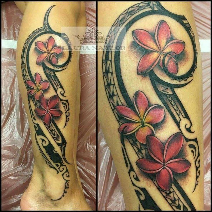 Hawaiian tribal tattoos for women on leg
