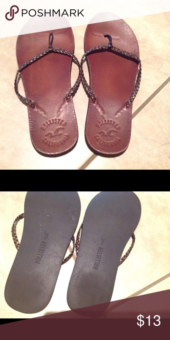 Hollister sandles GUC! Leather. Some scuffs. Size M--7/8 Hollister Shoes Sandals