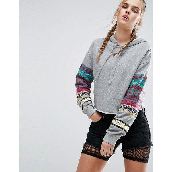 ASOS Hoodie With Blanket Embroidery (505 ARS) ❤ liked on Polyvore featuring tops, hoodies, multi, hoodie crop top, tall hooded sweatshirt, tall hoodie, crop top and cropped hooded sweatshirt