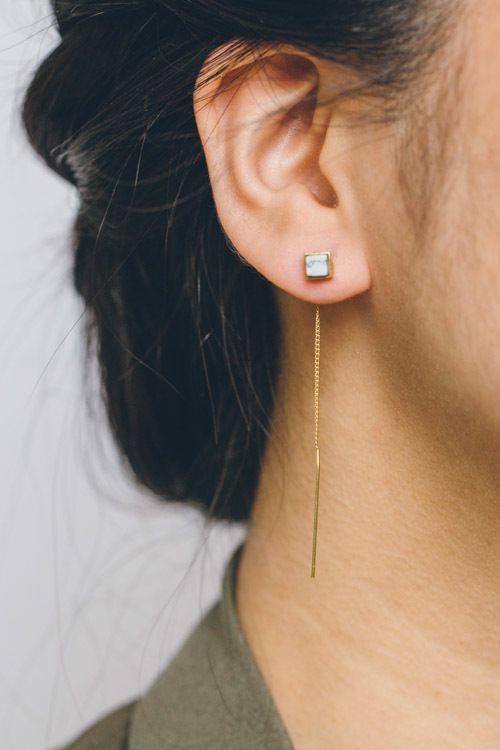 Lovoda - Cube Stone Threader Earrings, $20.00 (http://www.lovoda.com/cube-stone-threader-earrings/)