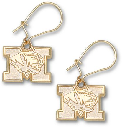 """Missouri Tigers 3/8"""" New """"M"""" Tiger Head Dangle Earrings - 10KT Gold Jewelry"": ""Enjoy these earrings… #Sport #Football #Rugby #IceHockey"
