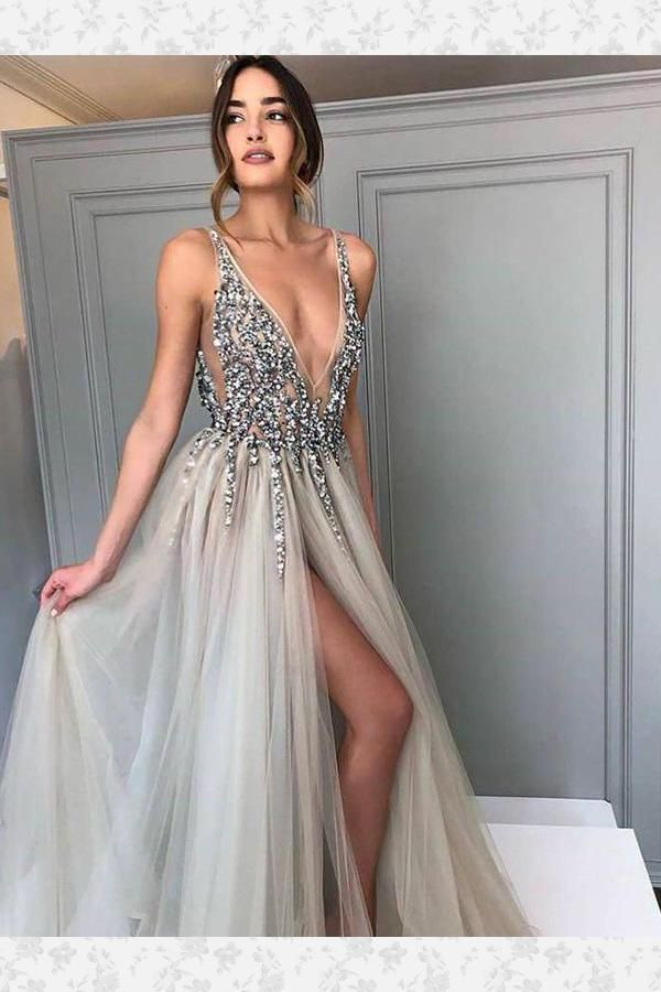 Fancy Prom Dresses Sexy, 2019 Prom Dresses, Grey Prom Dresses, Prom Dresses Backless