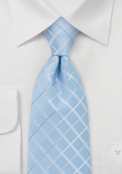 Necktie - Light blue with tonal herringbone pattern Notch FWfMudTz
