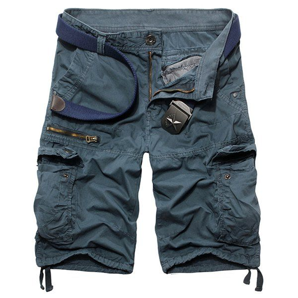 Loose Fit Casual Multi-Pockets Zip Fly Solid Color Cargo Shorts For Men - LIGHT BLUE 34
