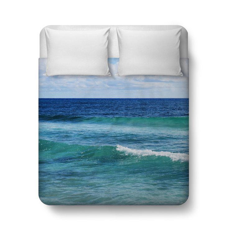 A vibrant seascape bedding accent for your surf style bedroom interiors, this duvet cover bed blanket throw features an sea style display of blue and green ocean waves surf throughout! Available in Twin, Full, Queen and King size, this bohemian chic coastal style bed blanket throw adds a refreshing nautical touch to any seaside style bedroom settings! *Available in Twin, Full, Queen or King Size