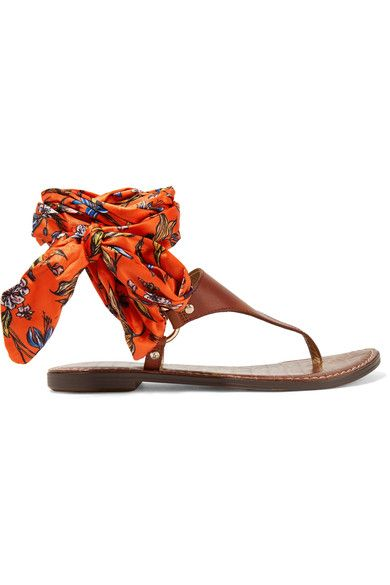 Sam Edelman - Giliana Leather And Printed Satin Sandals - Brown - US