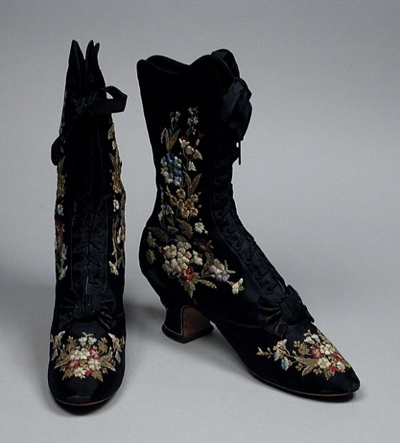 Pair of woman's boots, embroidered silk lined with linen and kid with leather soles, c. 1885, French.