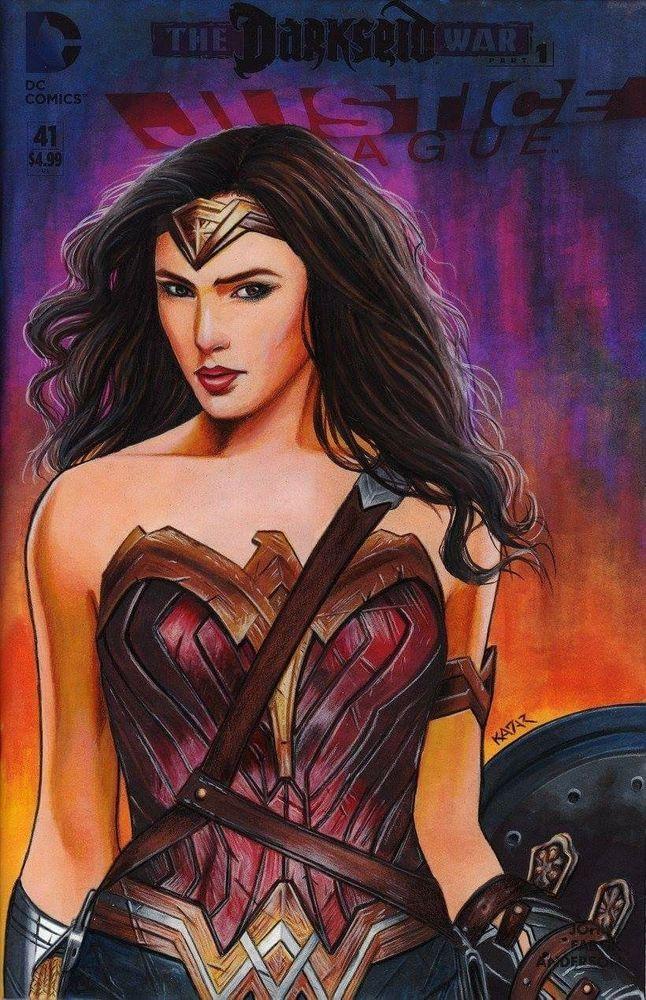 WONDER WOMAN Gal Gadot Justice League #41 painted sketch cover by Frank Kadar