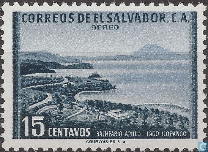 Postage Stamps - El Salvador - Lake Ilopango with beach
