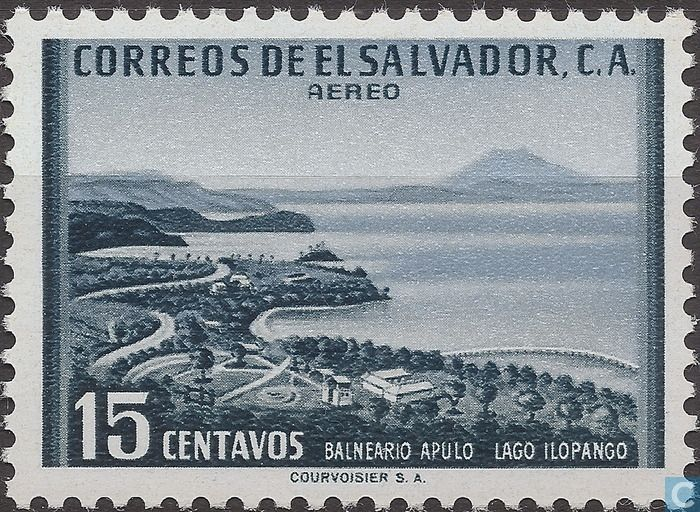 Postage Stamps - El Salvador - Lake Ilopango with beach