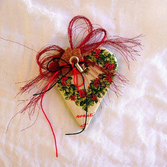 Christmas gift heart ornament good luck charm Christmas tree decoration good luck gift ceramic ornament hanging Christmas heart decor