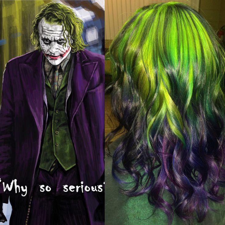 Acid green, violet, and black Joker inspired hair on Airacha