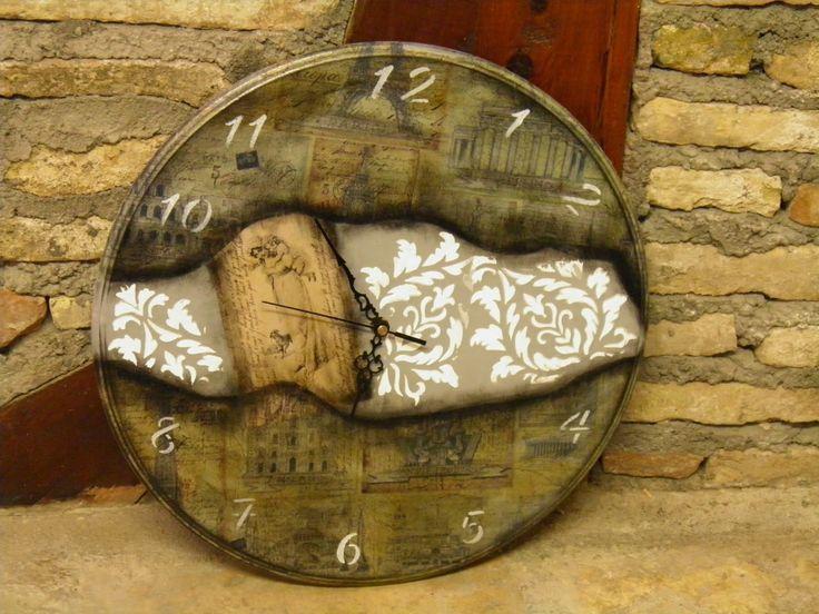 Χειρο_ποιείν: Τρίτη 31 Μαρτίου 2015, μεγάλο στρογγυλό ρολόι 40 cm με τριπλό φόντο!!