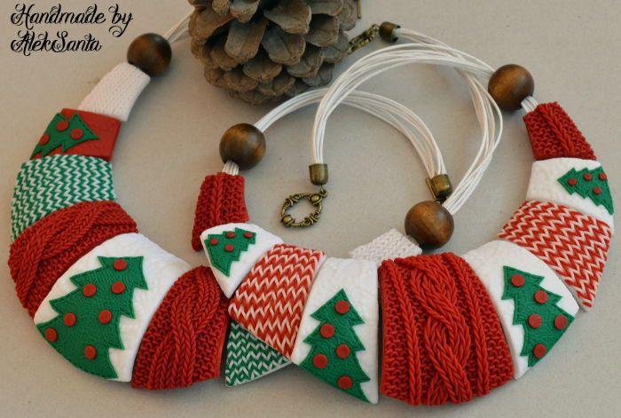 """Polymer clay necklace / Купить Колье """"Новогоднее"""" (зимнее, вязанное,белый, красный, зеленый) - украшения ручной работы, украшение"""