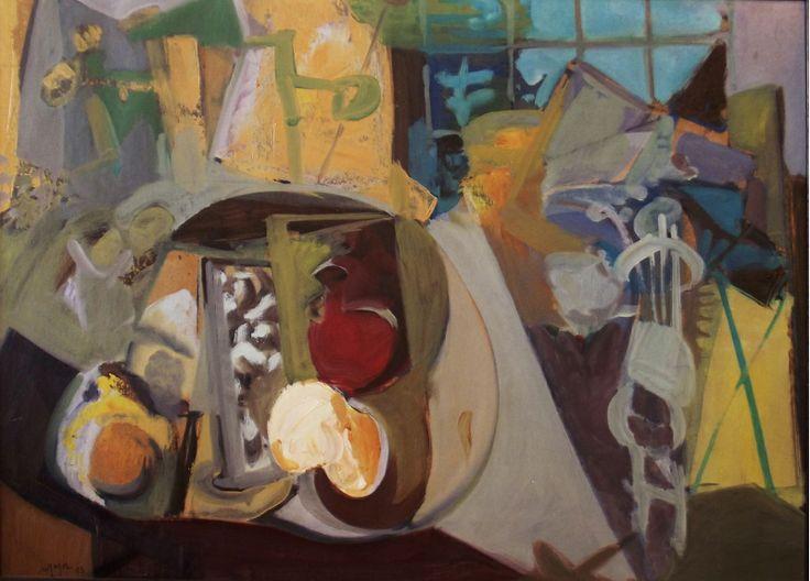 Mustafa Ayaz (1938)  Duralite marufle karton üz. yağlı boya. 1983 tarihli.  50 x 70 cm