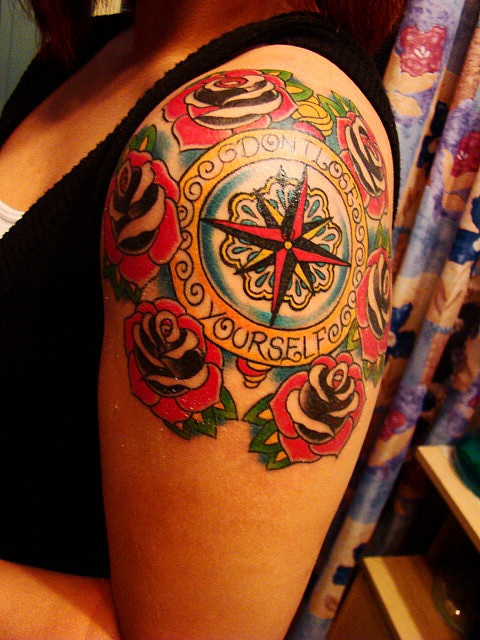 """""""Don't Lose Yourself"""" compass tattoo. So crisp and clean."""
