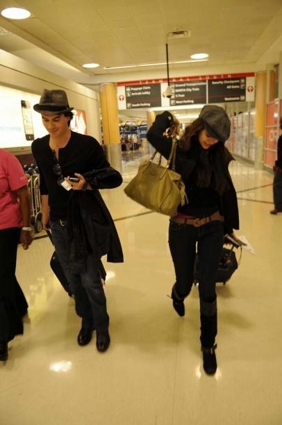 Ian Somerhalder & Nina Dobrev arriving in Atlanta