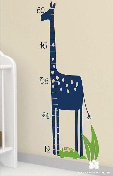 Tabla de crecimiento de jirafa pared tatuajes por singlestonestudio, $38.00