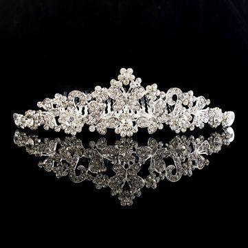 Bridal Tiara Rhinestone Butterfly Flower Crown Wedding Prom Headpiece Headband With Comb